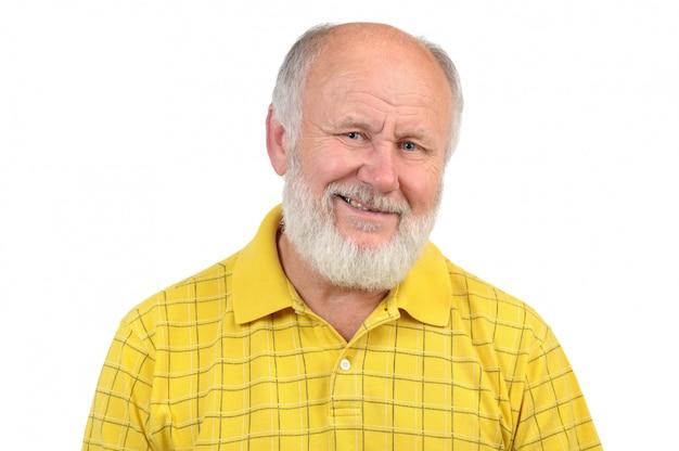 Gesti dell'uomo anziano calvo Foto Premium