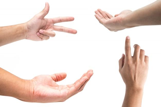 Gesti di mano maschii multipli isolati sopra fondo bianco Foto Premium