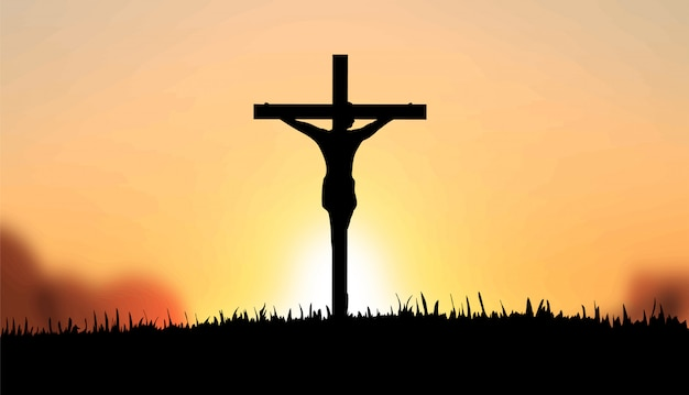 Gesù sulla croce vettoriale Foto Premium