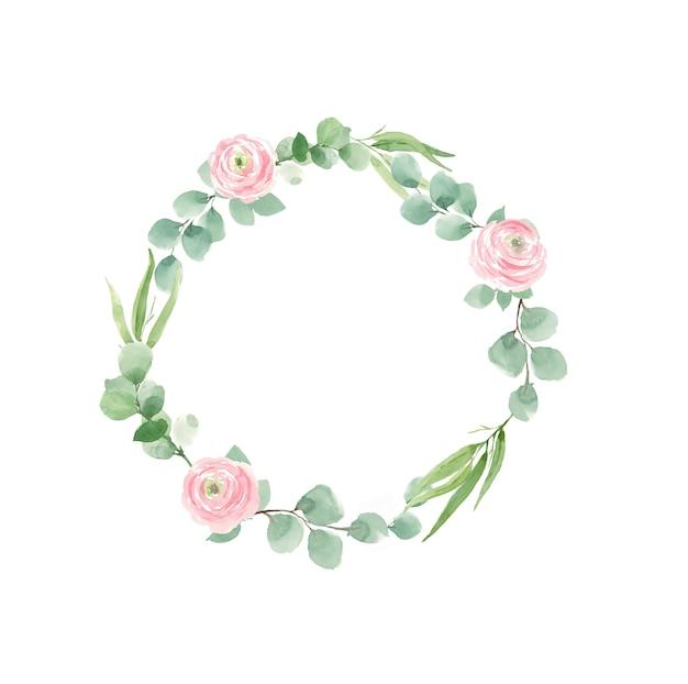 Ghirlanda di rose e foglie verdi per inviti di nozze Foto Premium
