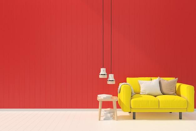 Giallo Divano Rosso Pastello Muro Bianco Legno Pavimento Sfondo