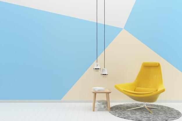 Giallo sedia blu pastello muro bianco pavimento in legno texture