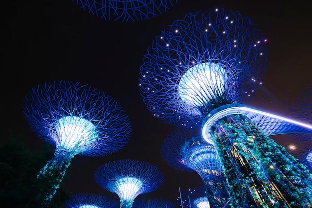 Giardino dalla baia nella scena di notte a singapore Foto Gratuite