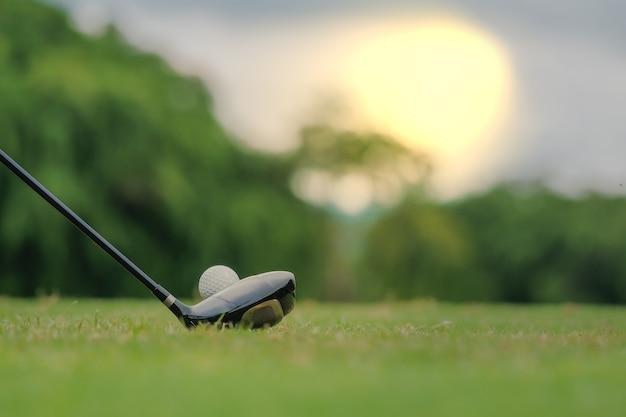 Giocando a golf che prepara sparare all'uomo che mette sul verde Foto Premium