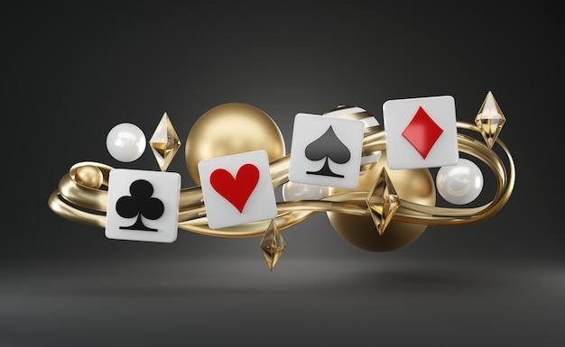 Giocare a poker card game symbol, oggetti galleggianti a tema astratto Foto Premium