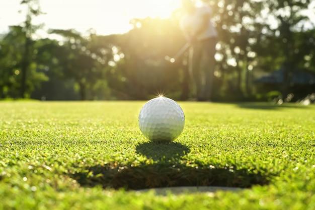 Giocatore di golf che mette la pallina da golf nel foro Foto Premium