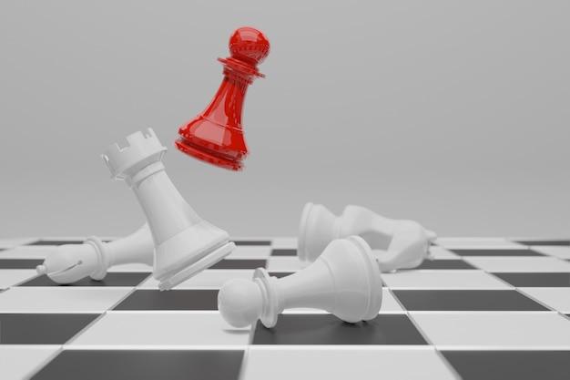 Gioco da tavolo di scacchi, concetto competitivo di affari Foto Premium