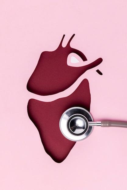 Giorno del cuore vista dall'alto con stetoscopio medico Foto Gratuite