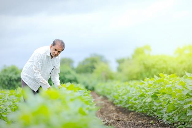 Giovane agricoltore indiano al campo Foto Premium