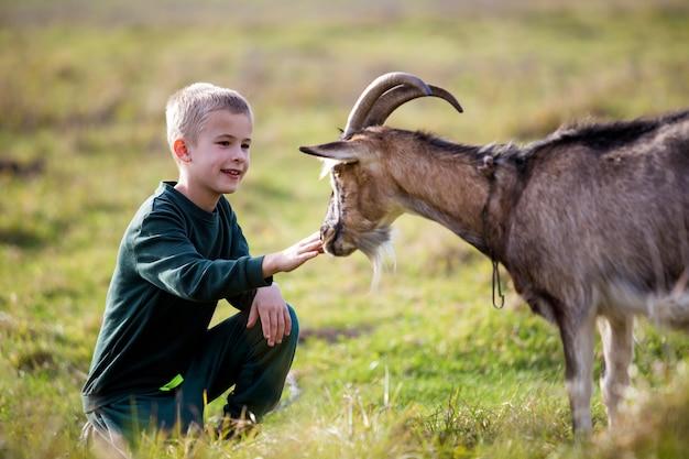 Giovane biondo carino bel ragazzo sorridente bambino che gioca con la capra cornuta barbuta all'aperto in estate soleggiata luminosa o primavera su sfocato verde chiaro erboso Foto Premium
