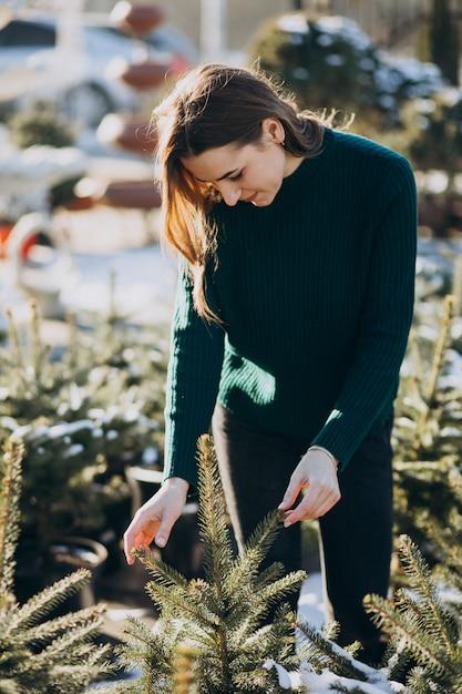 Giovane donna che sceglie un albero di natale in una serra Foto Gratuite