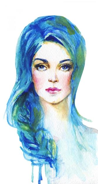 Giovane donna dell'acquerello con capelli blu. ritratto ...