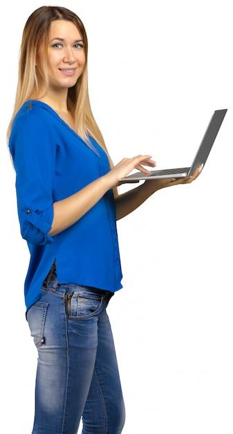 Giovane donna isolata su bianco Foto Premium