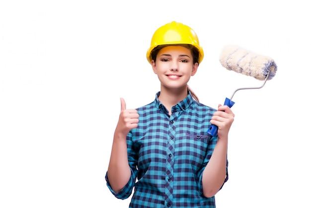 Giovane donna nel concetto industriale isolato su bianco Foto Premium