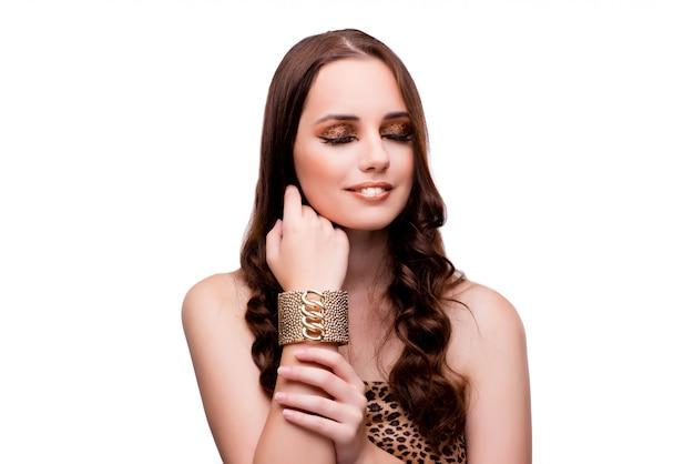 Giovane donna nella bellezza su bianco isolata Foto Premium