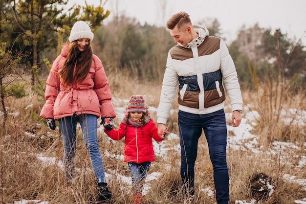 Giovane famiglia che cammina insieme nella foresta all'orario invernale Foto Gratuite