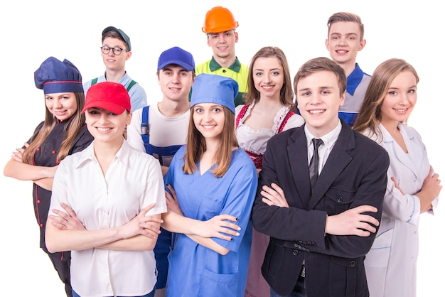 Giovane gruppo di lavoratori industriali Foto Premium