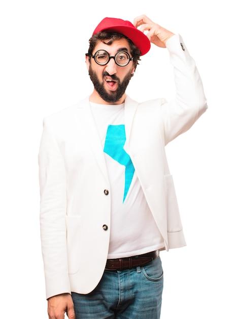 Giovane imprenditore pazzo confuso espressione Foto Gratuite