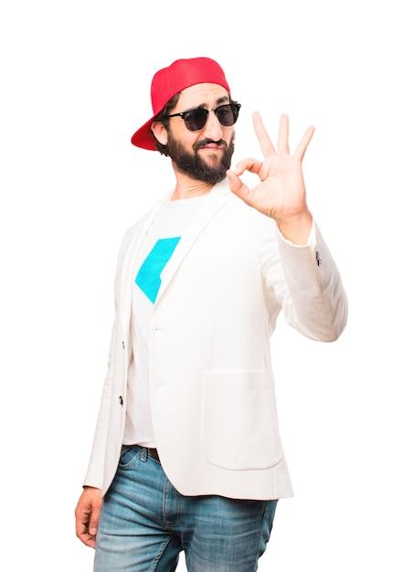 Giovane imprenditore pazzo fai segno Foto Gratuite