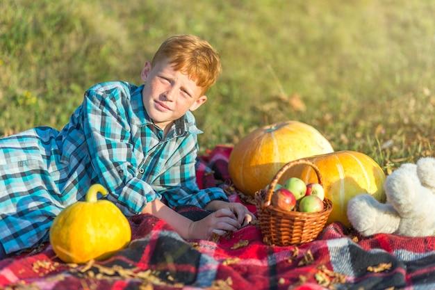 Giovane ragazzo di redhead che riposa su una coperta di picnic Foto Gratuite