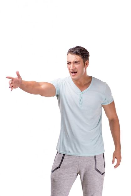 Giovane uomo bello isolato su sfondo bianco Foto Premium