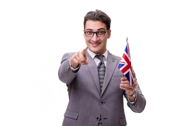 Giovane uomo d'affari con la bandiera isolata su bianco Foto Premium