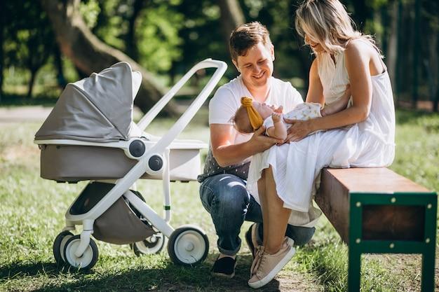 Giovani coppie con la loro figlia del bambino in parco che si siede dalla carrozzina di ther Foto Gratuite