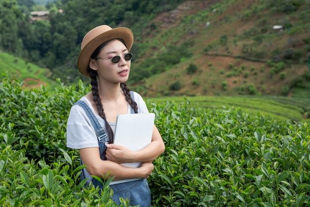 Gli agricoltori in possesso di compresse, controllare il tè, concetti moderni. Foto Gratuite