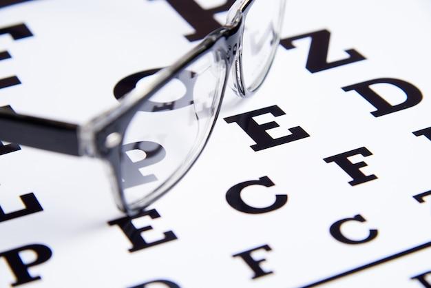 Gli occhiali giacciono sul tavolo per la visita oculistica. Foto Premium