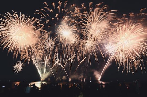 Gli spettatori stanno guardando fuochi d'artificio colorati nel cielo notturno sulla spiaggia Foto Premium