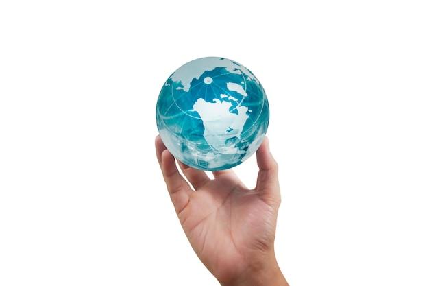 Globo, terra in mano, tenendo il nostro pianeta in fiamme. immagine della terra fornita dalla nasa Foto Premium