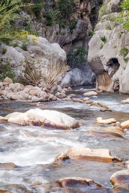 Gole di tiberio lungo il fiume pollina all'interno del parco delle madonie Foto Premium
