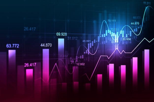 Grafico commerciale del mercato azionario o dei forex nel concetto grafico Foto Premium