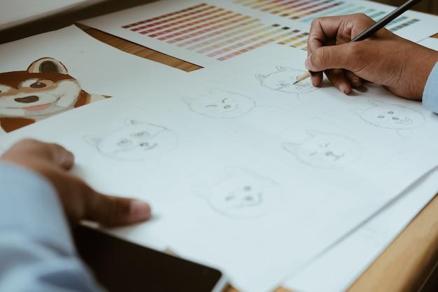 Grafico del disegno del grafico dell'artista. luogo di lavoro di design creativo Foto Premium