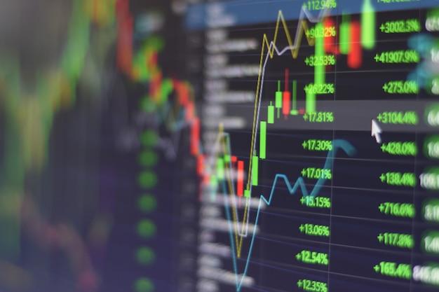 Grafico del grafico del mercato azionario con la fine dello schermo del monitor del mercato di commercio di borsa di commercio di investimento dell'indicatore su Foto Premium