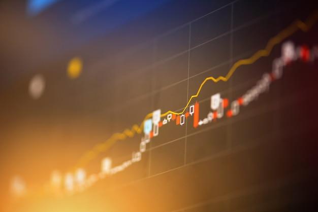 Grafico del mercato azionario trading forex trading e analisi del candeliere indicatore di investimento del consiglio finanziario display prezzo del denaro grafico del titolo borsa crescita e crisi denaro Foto Premium