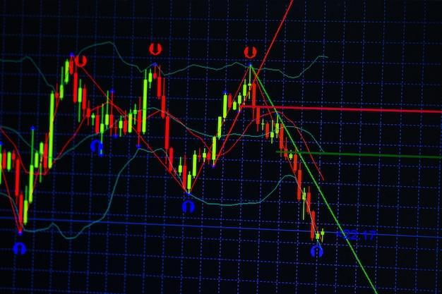 Grafico graph bastone candela con indicatore Foto Premium