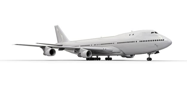 Grande aereo passeggeri di grande capacità per lunghi voli transatlantici. aeroplano bianco su superficie isolata bianca Foto Premium