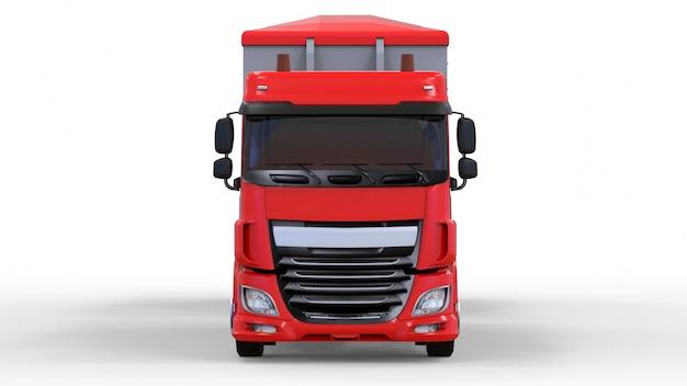 Grande camion rosso con rimorchio separato, per il trasporto di materiali e prodotti agricoli alla rinfusa Foto Premium