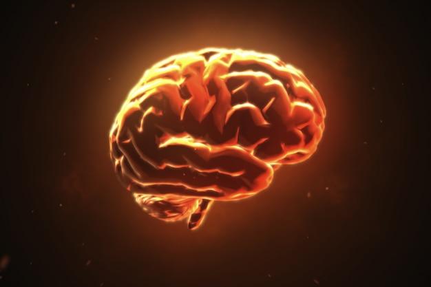 Grande cervello forte che pulsa in arancione Foto Premium