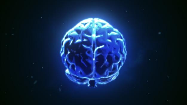 Grande cervello forte che pulsa in blu Foto Premium