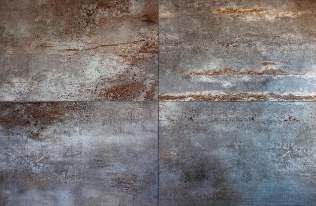 Grandi piastrelle in gres porcellanato per rivestimenti, stile ruggine. Foto Premium