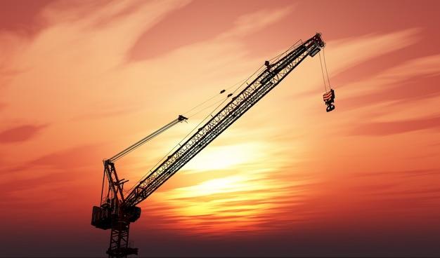 Gru 3d contro un cielo al tramonto Foto Gratuite