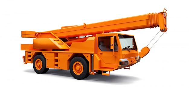 Gru mobile arancione. illustrazione tridimensionale Foto Premium