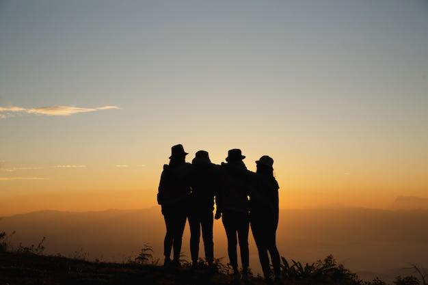 Gruppo di amici che stanno insieme su greensward e che si divertono. Foto Gratuite
