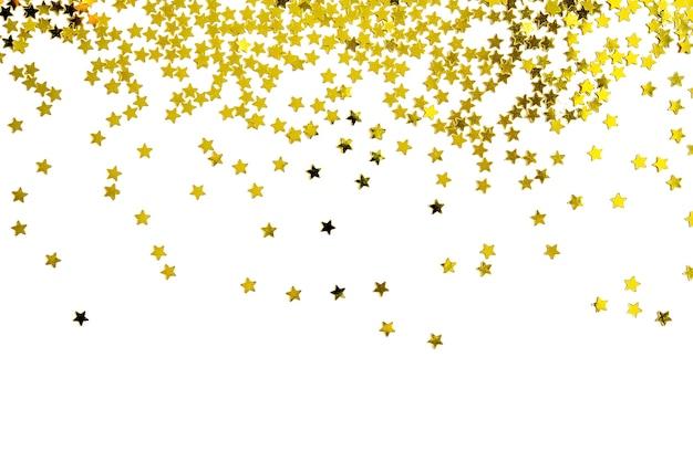 Gruppo di felice anno nuovo di natale della decorazione della stella dell'oro isolato su fondo bianco Foto Premium