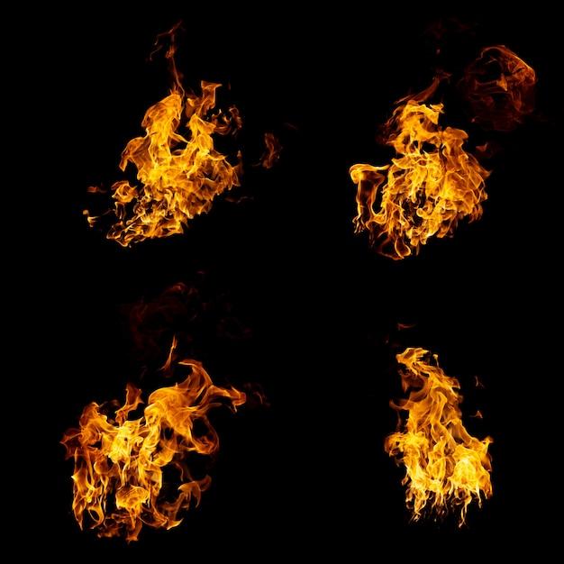 Gruppo di fiamme reali e calde stanno bruciando su uno sfondo nero Foto Premium