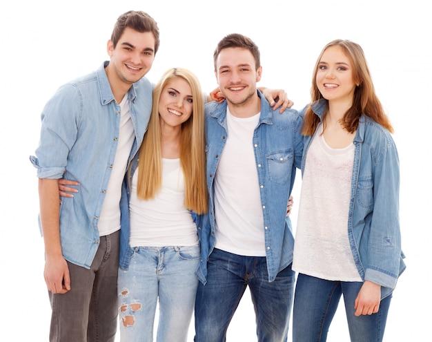 Gruppo di giovani felici Foto Premium