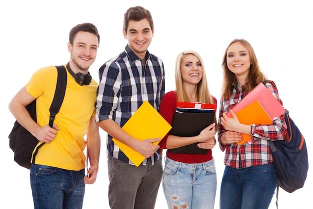Gruppo di studenti allegri Foto Premium