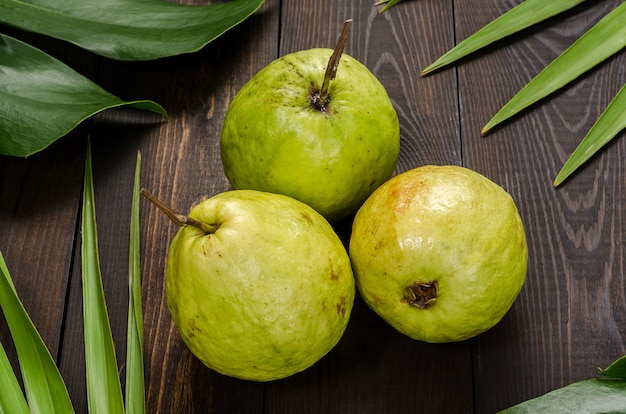 Guava sullo sfondo di foglie di palma verdi. Foto Premium
